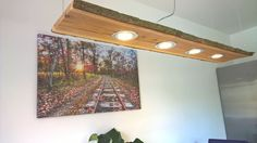 LED Decken Holz Lampe Rustikal 120cm 4x 7W Massivholz