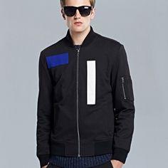 Mens rectangular black bomber jacket side pockets geometric patterns