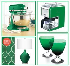 Decor items and images inspired by Pantone's Colour of The Year: Emerald Green, featured in our recent blog post.