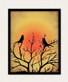 Sunset Birds Wall Art Print Black Silhouette by Fineartreflections, $18.00