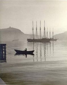 """Portuguese ships at anchor in St. This photograph by Fred Ruggles appeared in Life magazine in Newfoundland And Labrador, Newfoundland Canada, Portugal, Fishing Vessel, Devon Uk, Atlantic Canada, Ocean Sounds, Prince Edward Island, Beautiful Sites"
