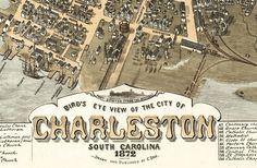 Birdseye View Vintage Map of Charleston South Carolina , Aerial view  United States 1874