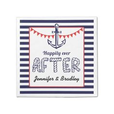 Blue Red Nautical Anchor Bunting Custom Napkin