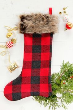 It doesn't get more Christmas-y than plaid and faux fur.