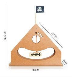 Wooden Pirate Ship Cat Toy