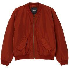 Monki Farah jacket ($52) ❤ liked on Polyvore featuring outerwear, jackets, coats & jackets, bomber, monki, blouson jacket, flight bomber jacket, bomber jacket and red jacket