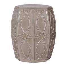 """Treillage garden stool with a gray glaze. Glossy Glaze Please allow 4 weeks 14x15x18""""h"""