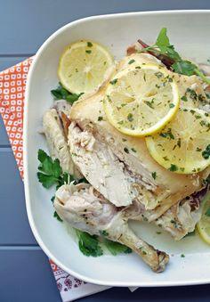 easy crock pot roast chicken with lemon parsley butter.