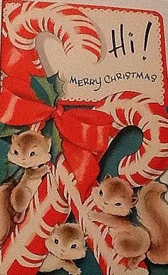 Vintage Christmas Card with animals! (1/2/2014) Christmas  (CTS)