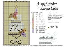 November Birthday Cake Cross Stitch Pattern | Brooke's Books Publishing