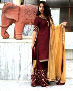 Slay this wedding season in our wine sharara set🥀🌟 . Sharara Designs, Indian Attire, Indian Wear, Pakistani Outfits, Indian Outfits, Indian Designer Outfits, Designer Dresses, Suits For Women, Clothes For Women