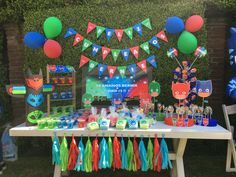 The Banner =) Kids Birthday Themes, 4th Birthday Parties, 3rd Birthday, Pj Mask Decorations, Party Decoration, Pjmask Party, Pj Masks Birthday Cake, Festa Pj Masks, Party Activities