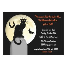Having a Halloween Party? Here's a selection of invite designs with Cats.: Black Cat and Full Moon Halloween Party Card - click/tap to see the slideshow for related designs Halloween Cards, Halloween Themes, Halloween Party Invitations, Full Moon, Invitation Design, Cats, Invites, Announcement, Black
