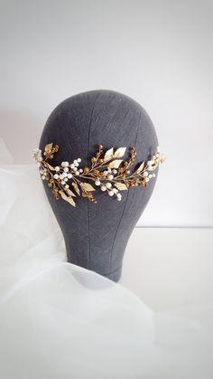 Ivory Gold Bridal hair piece Gold Bridal headpiece Gold