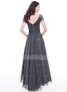 A-Line/Princess V-neck Asymmetrical Tulle Evening Dress With Ruffle Beading Sequins (017056519) - JenJenHouse