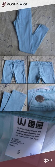 """Uniqlo Mint Blue Skinny Jeans Brand: Uniqlo Size: 26x33 Color: Mint Blue  Measurements:  Waist: 14"""" across, 28"""" around. Inseam: 33""""   These jeans are in great condition. They are a skinny jeans and feature five pockets; three in the front and two in the back. They do run big so please be sure to size down. Uniqlo Jeans Skinny"""