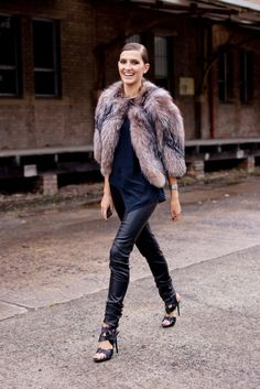 Fur with leather pants