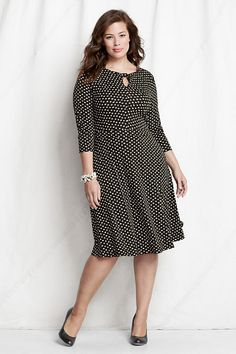 December 26th Launch:Polka Dot Jersey Knot Neck Dress by Land'sEnd,Available in sizes M/L, 0X/1X/2X, and 3X