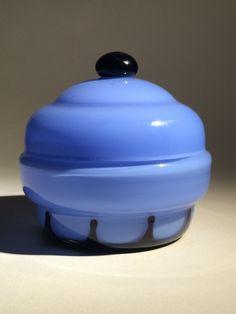 Loetz Blue Tango Lidded Dresser Jar (Hans Bolek design) | Collectors Weekly