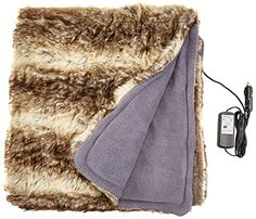 Trillium Worldwide Twi00068 12v Faux Fur Cozy Heated Throw For Home And Auto Check