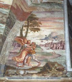Giovan Battista Guarinoni - Lotta di Giacobbe con l'Angelo - affresco - 1577 circa - Cappella centrale - Chiesa San Michele al Pozzo bianco - Bergamo (Italia)