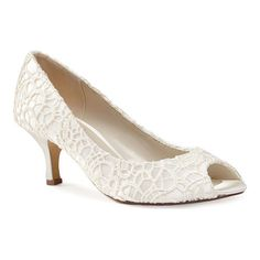 Women s Pink Paradox London Emotion Peep Toe Pump - Ivory Lace Satin Heels.  White Lace ShoesWhite Bridal ... 82646341b636