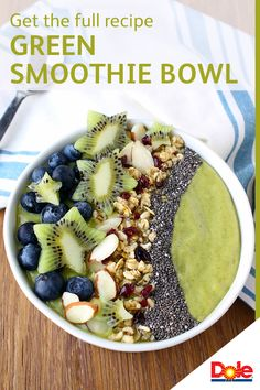 Start your day with this perfectly refreshing Green Smoothie Bowl. This delicious recipe features all-natural ingredients including frozen DOLE® Fruit n' Veggie Blends, frozen DOLE blueberries, and fresh avocados. It's a lot easier to whip together than you think! CLICK for the full recipe.