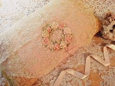Linens & Fabric Magic...More Romance...beautiful pillow of lace with silk ribbon flowers