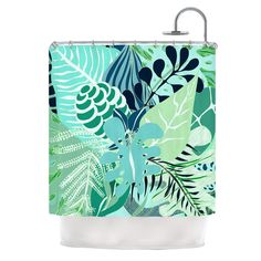 "Anchobee ""Giungla"" Green Floral Shower Curtain"