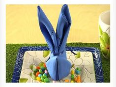 Easter Bunny Napkin Fold in Chic and Crafty, Easter, Party Bunny Napkin Fold, Napkin Folding, Easter Crafts, Holiday Crafts, Holiday Fun, Easter Table Settings, Easter Table Decorations, Easter Brunch, Easter Party