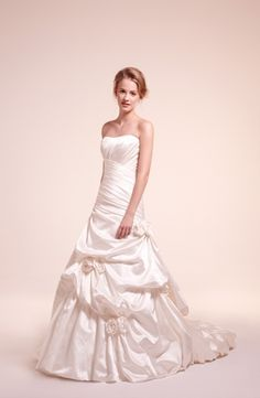Strapless A-Line Wedding Dress  with Dropped Waist in Silk Taffetta. Bridal Gown Style Number:32354359