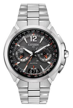 Citizen Eco-drive Mens Satellite Wave World Time Grey Dial Watch for sale online Watch Companies, Watch Brands, Citizen Titanium Watch, Stainless Steel Bracelet, Stainless Steel Case, Cool Watches, Watches For Men, Wrist Watches, Citizen Dive Watch