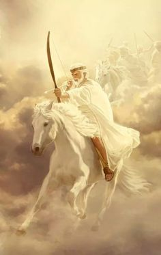 """Revelation 6:1 6 And I saw when the Lamb opened one of the seven seals, and I heard one of the four living creatures say with a voice like thunder: """"Come!"""" 2 And I saw, and look! a white horse, and the one seated on it had a bow; and a crown was given him, and he went out conquering and to complete his conquest"""
