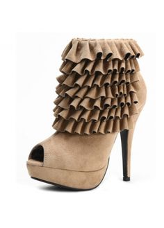dc8a605b2db Kvoll Sweet Peep Toe Layering Design Platform Zipper Suede Coffee Short  Boots - This is the