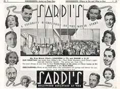 Sardi's was a chic restaurant at 6315 Hollywood Boulevard, near Vine St., open from 1932 1936. For such an upscale place in the 1930s, 75 cents for lunch and $1.25 for dinner sounds pretty reasonable to me. I wonder if the stars featured here were compensated for appearing in this ad.