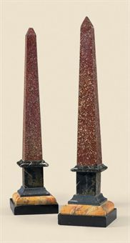 A pair of 19th century Northern European faux porphyry marble obelisks.