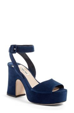 Free shipping and returns on Miu Miu Platform Strap Sandal (Women) at Nordstrom.com. Every day's a party in this dance-floor-ready suede sandal perched on a flared wrapped heel and a groovy rocker platform.