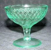 Glass Green Depression Floral Diamond Champagne Glasses
