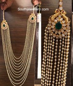 Multistring Pearls Mala with Polki Side Pendants photo Pearl Necklace Designs, Jewelry Design Earrings, Gold Earrings Designs, Gold Jewellery Design, Fancy Jewellery, Necklace Set, Bridal Jewelry, Beaded Jewelry, Silver Jewelry