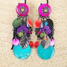 Boucles d'oreilles Clips - Multicolore. Création Ikita Paris - Bijoux Fantaisies