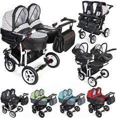 Double Dorjan Twin Tandem Duo Pram Pushchair Stroller Buggy Car Seat 2 Babies