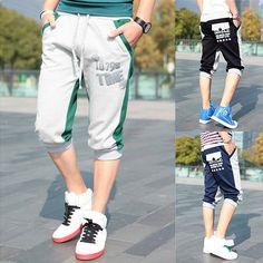 058faef79 This summer casual sports cropped pants is very stylish and suitable for  sports. Special three-dimensional print color block design which shows your  ...