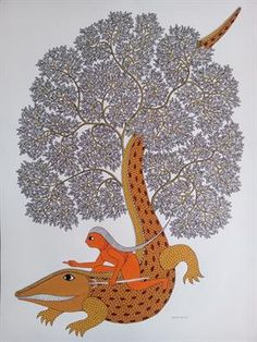 An online art gallery offering the best range of indian art online. Choose to buy from paintings, prints, artworks and more by renowned artists. Gond Painting, Mural Painting, Indian Paintings, Art Paintings, Indian Folk Art, Tribal Art, Ancient Art, Art Studios, Online Art Gallery