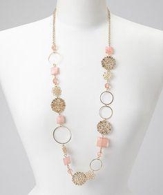 Gold & Pink Floral Necklace #zulily #zulilyfinds