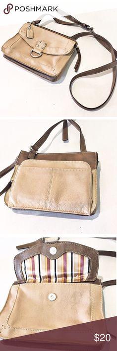 81326040f73 Clarks Leather Purse Light tan leather with brown straps. Cross body bag  with lots of