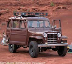 1951 Willys Jeep Station Wagon, doing real duty after all these years! brown, roof rack,