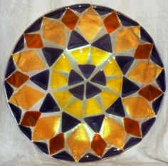 Fused Glass Plate - Geometric Fusion   shimmeringglass - Glass on ...