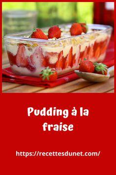 Voici un dessert vraiment exquis Pudding à la fraise qui remporte à chaque fois un franc succès. Il est largement inspiré d'une recette de ma grand mère Quand j'étais petite elle me préparait une sorte de pudding composé de biscuits cuillère fourrés à la gelée de groseilles et recouverts de crème anglaise. Elle le présentait dans un large plat à gratin, en une seule couche. Et puis, au fil du temps, je l'ai fait évoluer en surposant les couches, dans un moule à cake (parce que c'est plus… Cheesecake, Food, Couches, Voici, Tiramisu, Mousse, Pudding Recipe, Cooking Recipes, Strawberries