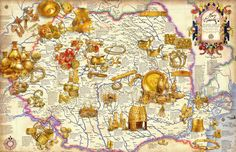 Golden treasure found on Romanian territory Ancient Rome, Ancient History, Vampire Games, Golden Treasure, Places In Europe, Archaeology, Romania, Vintage World Maps, Poster