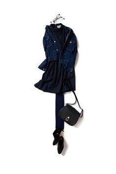 いつもより女らしくしたい日のネイビー 2015-10-15 | jacket price :37,800 brand : NO MORE NO LESS | dress price :45,360 brand : VONDEL | bag price :28,350 brand : HIGH-CLASS | shoes brand : sergio rossi